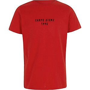 Rood T-shirt met 'Carpe Diem'-print