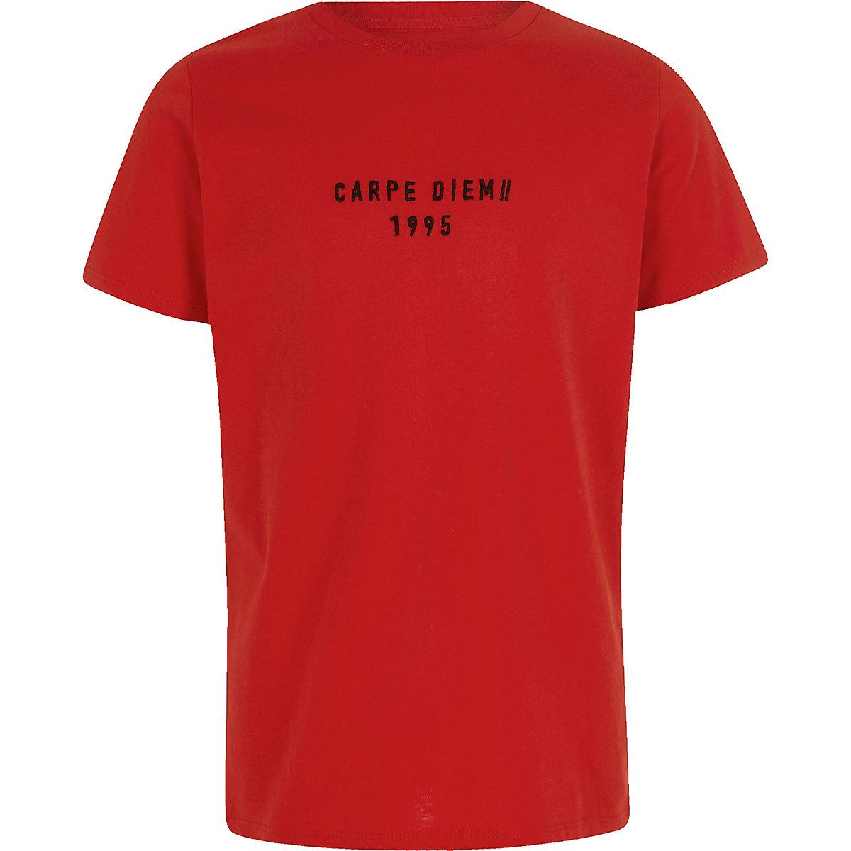 Boys red 'Carpe Diem' tape T-shirt