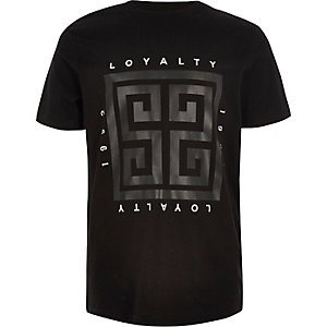 Boys black shiny 'loyalty' box print T-shirt