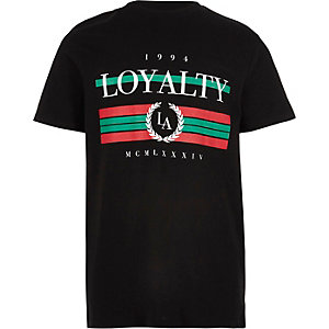 Boys black 'Loyalty' print T-shirt