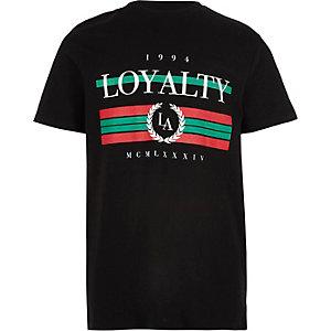 Zwart T-shirt met 'Loyalty'-print voor jongens