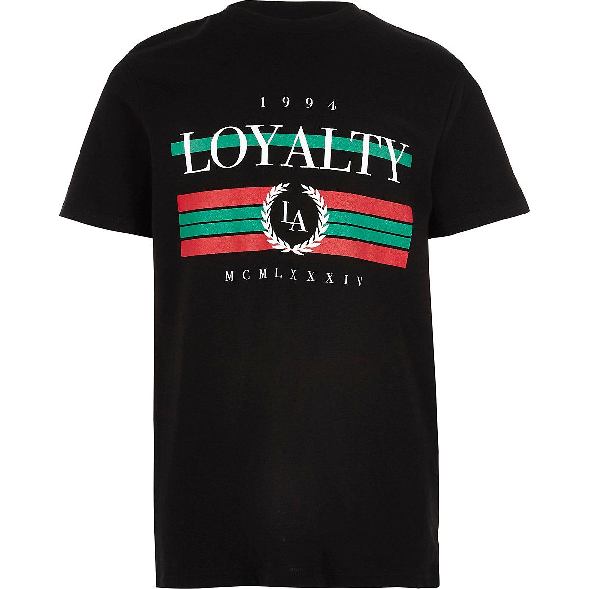 Boys black 'Loyalty' print T-shirt