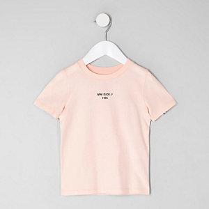 Mini - Roze T-shirt met 'Mini dude'-print voor jongens