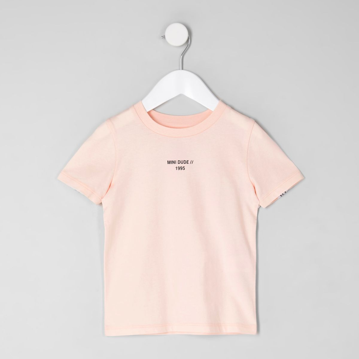 Mini boys pink 'mini dude' tape T-shirt
