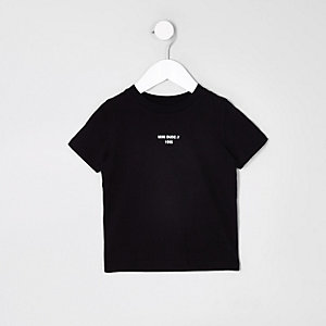 Mini - Zwart T-shirt met 'mini dude'-print en streep