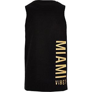 Zwart hemdje met 'Miami' in reliëf voor jongens