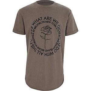 Kaki T-shirt met rozenprint en korte mouwen voor jongens