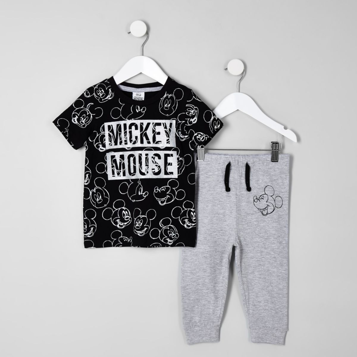 Mini boys black Mickey Mouse pajama outfit