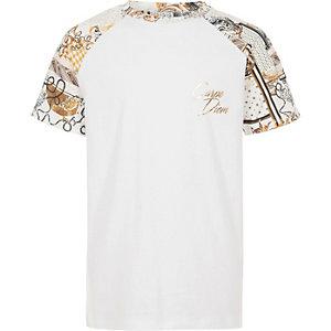 Wit T-shirt met 'Carpe diem'-print en raglanmouwen voor jongens