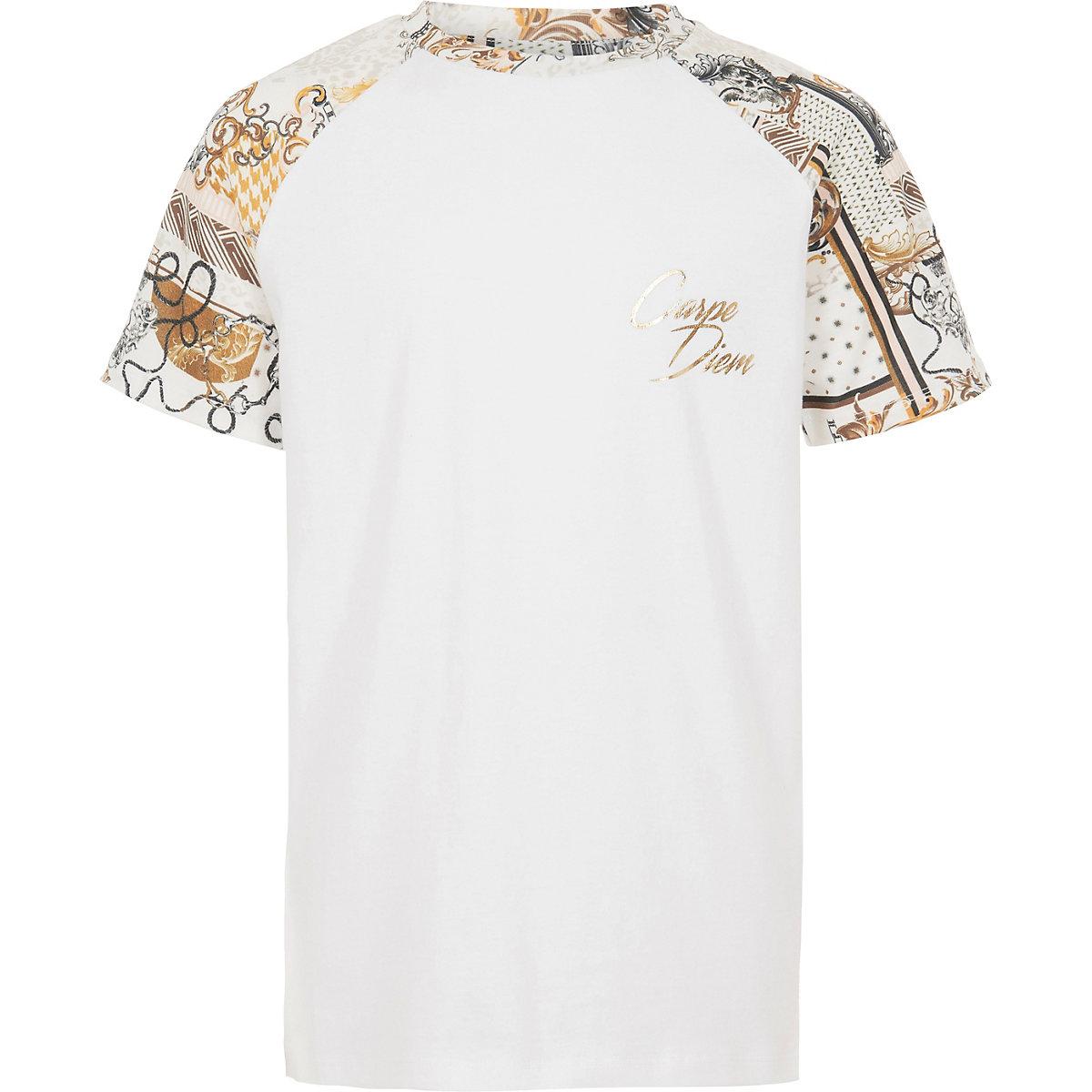 Boys white 'carpe diem' raglan T-shirt