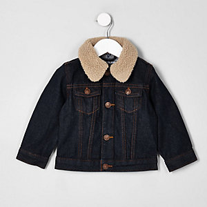 Mini boys blue rinse denim fleece collar jacket