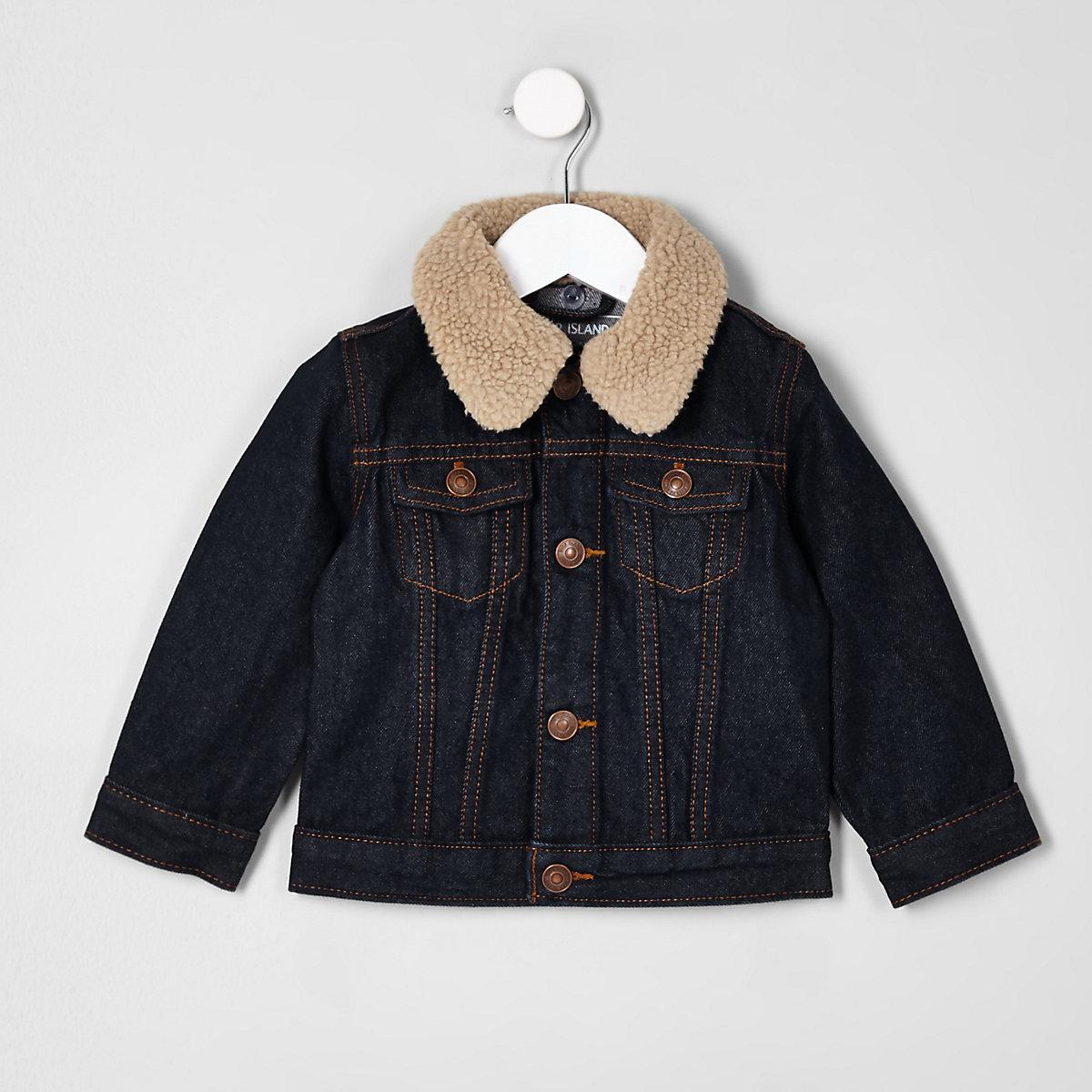 Mini boys blue rinse denim fleece collar jacket