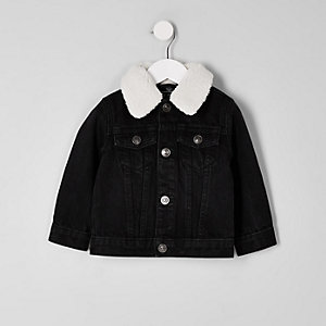 Mini boys black fleece denim jacket