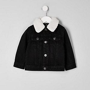 Mini - Zwart denim jack met borg voor jongens