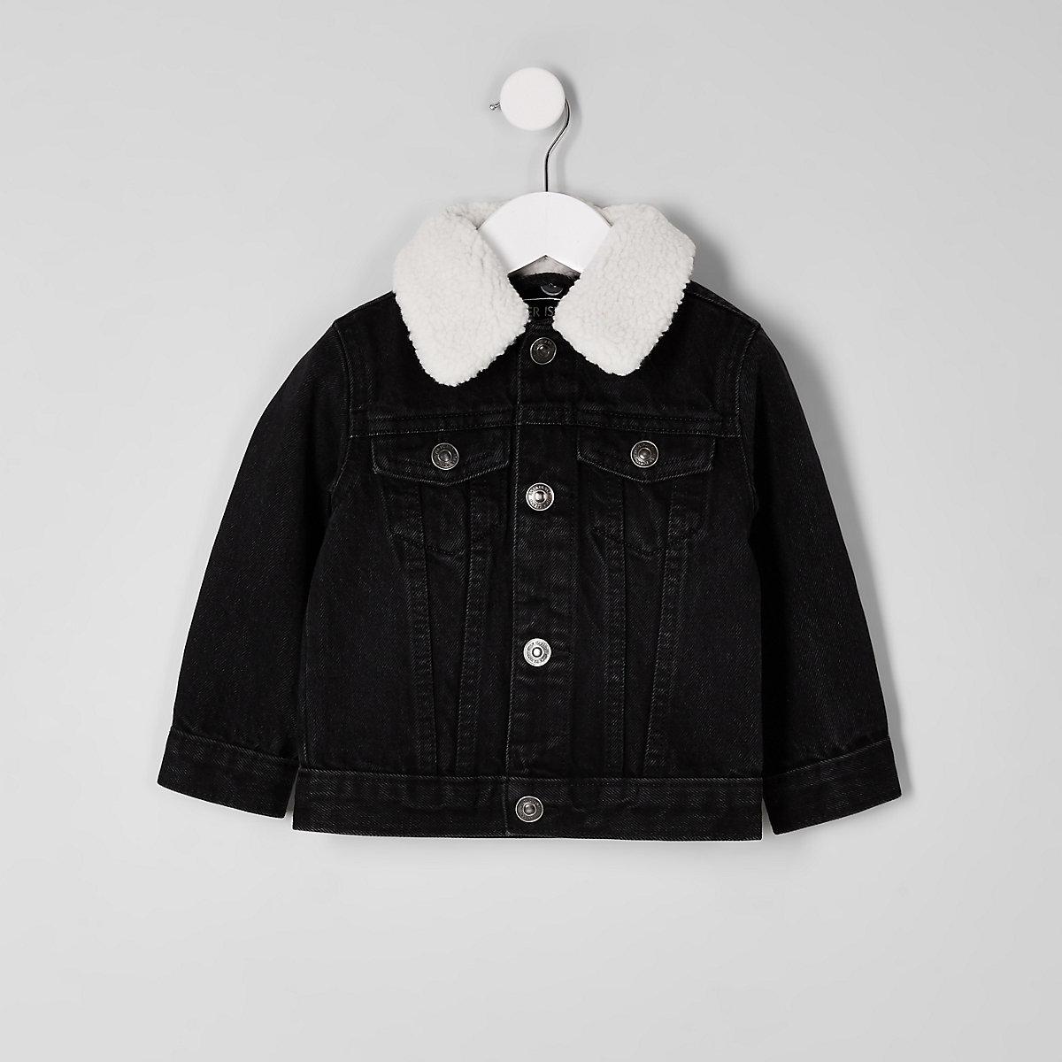 Mini boys black fleece denim jacket