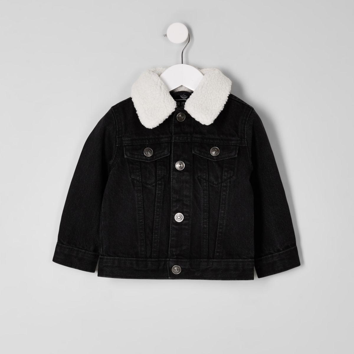Mini boys black borg denim jacket