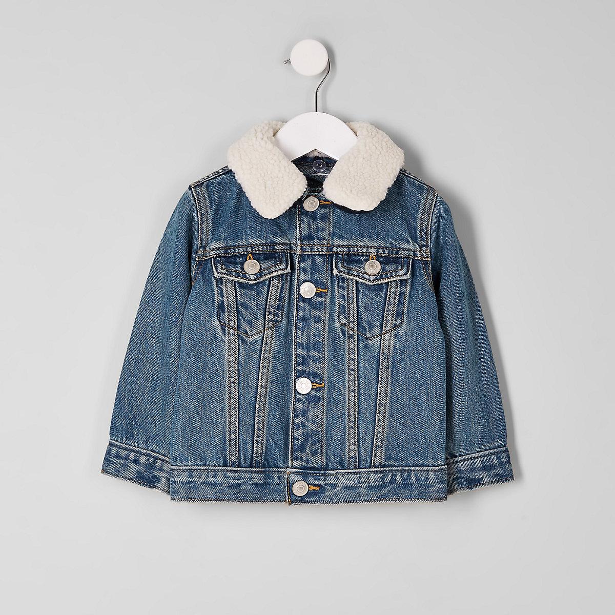 Mini boys blue denim borg collar jacket