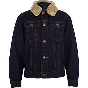 Boys blue rinse borg denim jacket