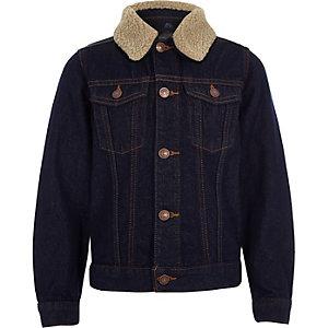 Veste en jean bleu délavé et imitation mouton pour garçon