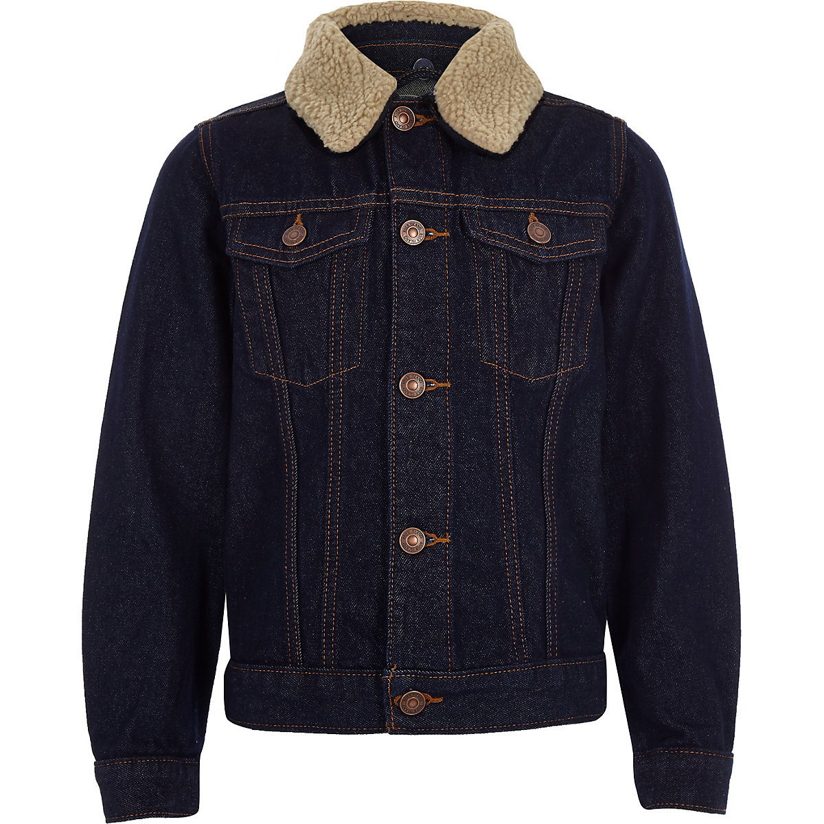 Boys blue rinse borg denim jacket