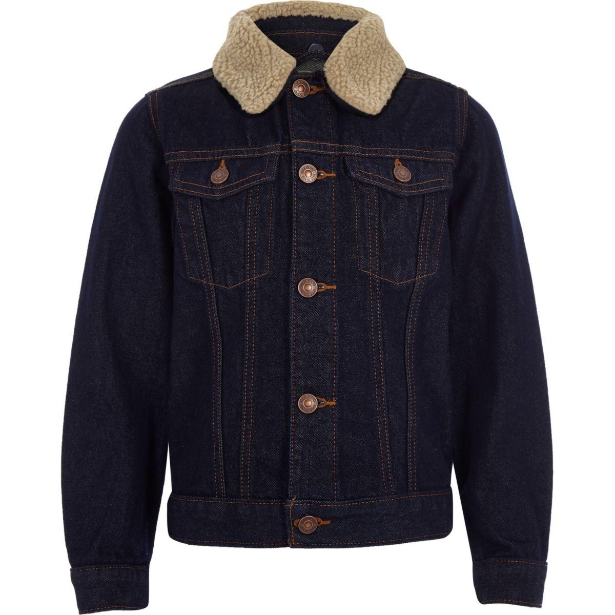 Boys blue rinse fleece denim jacket