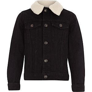 Boys black borg denim jacket