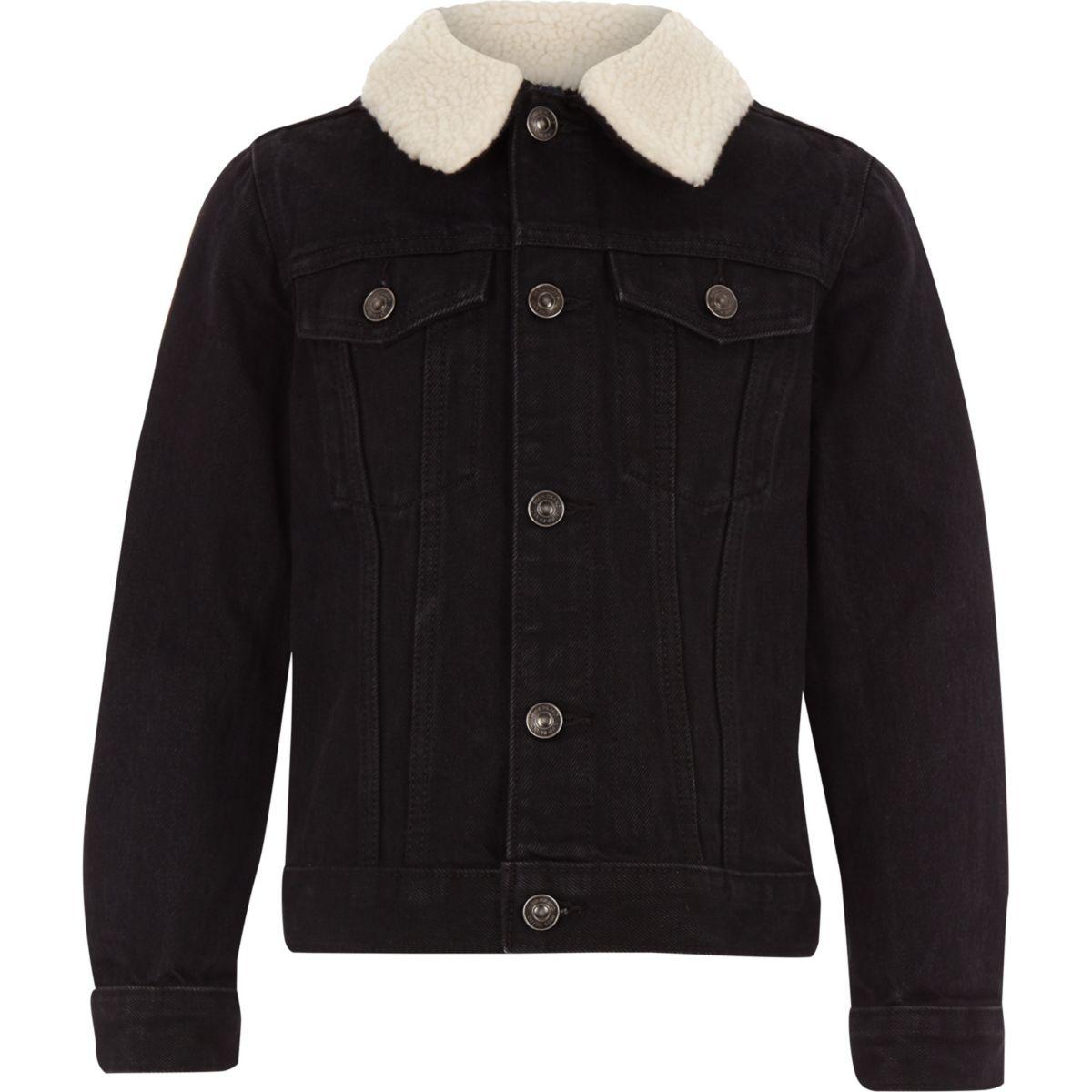 Veste en jean noire avec imitation mouton pour garçon
