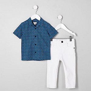 Mini boys tile print shirt and jeans outfit