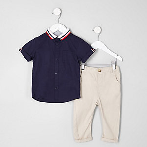 Mini boys navy knitted collar shirt outfit