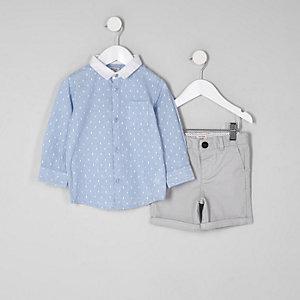Ensemble avec chemise à pois bleue pour mini garçon