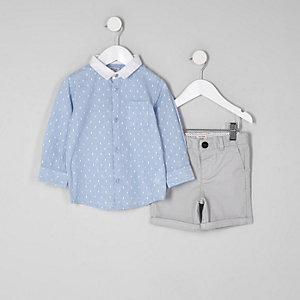 Mini - Outfit met blauw dobby-overhemd voor jongens