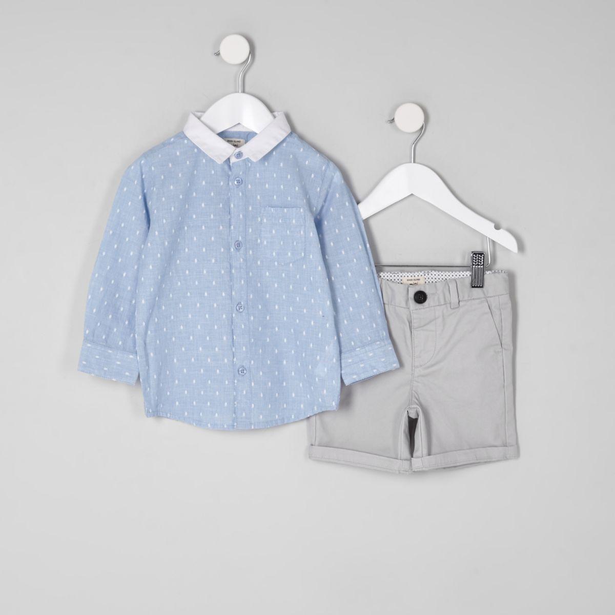 Mini boys blue dobby shirt outfit