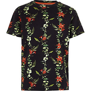 Boys green floral pique tape sleeve T-shirt