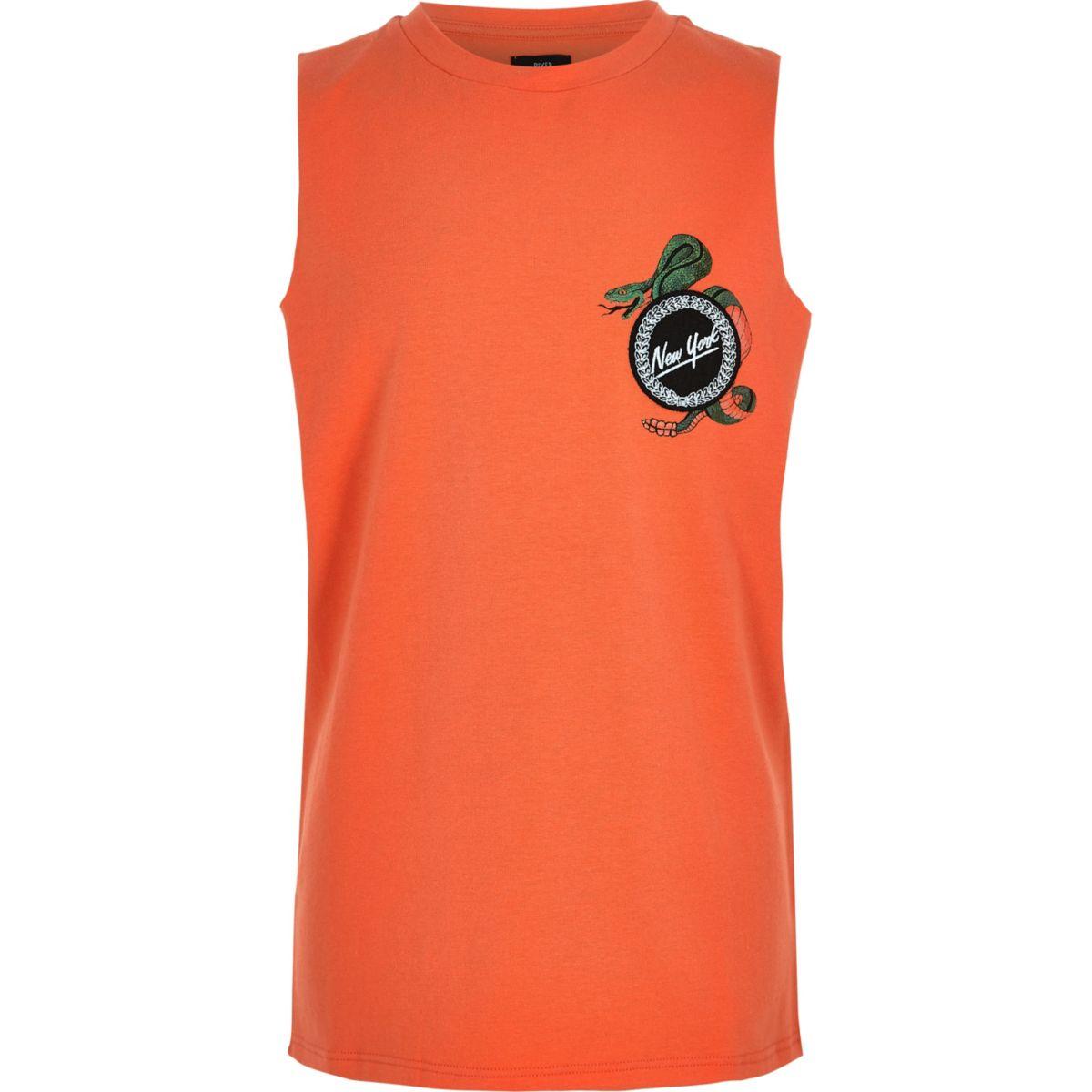 Boys orange 'New York' badge tank