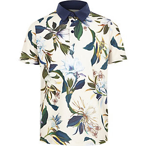 Boys blue floral polo shirt
