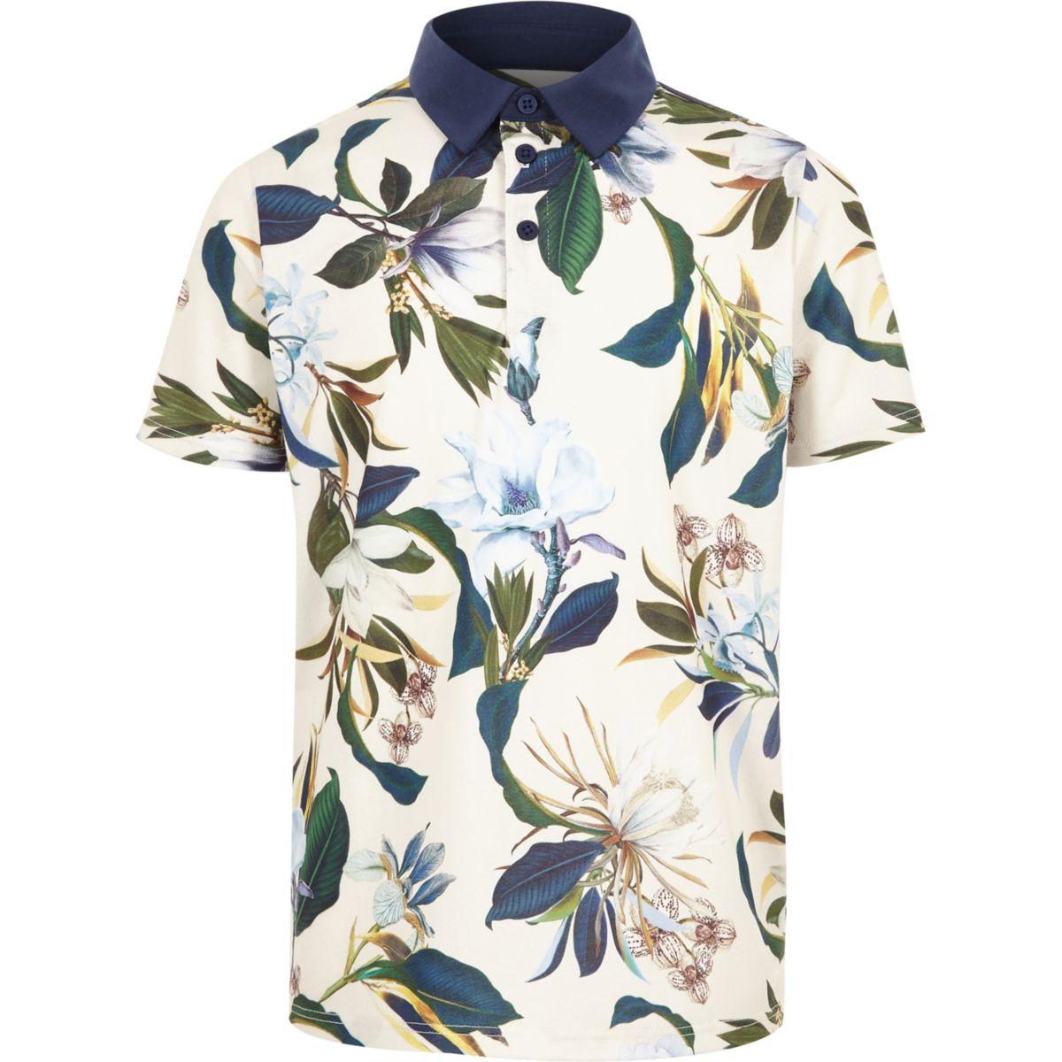 Boys blue floral polo shirt