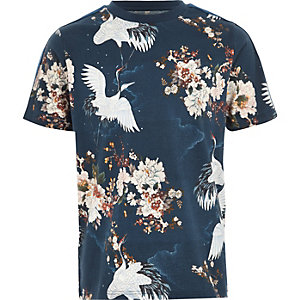 Blauw overhemd met kraanvogelprint en streep op de mouwen voor jongens