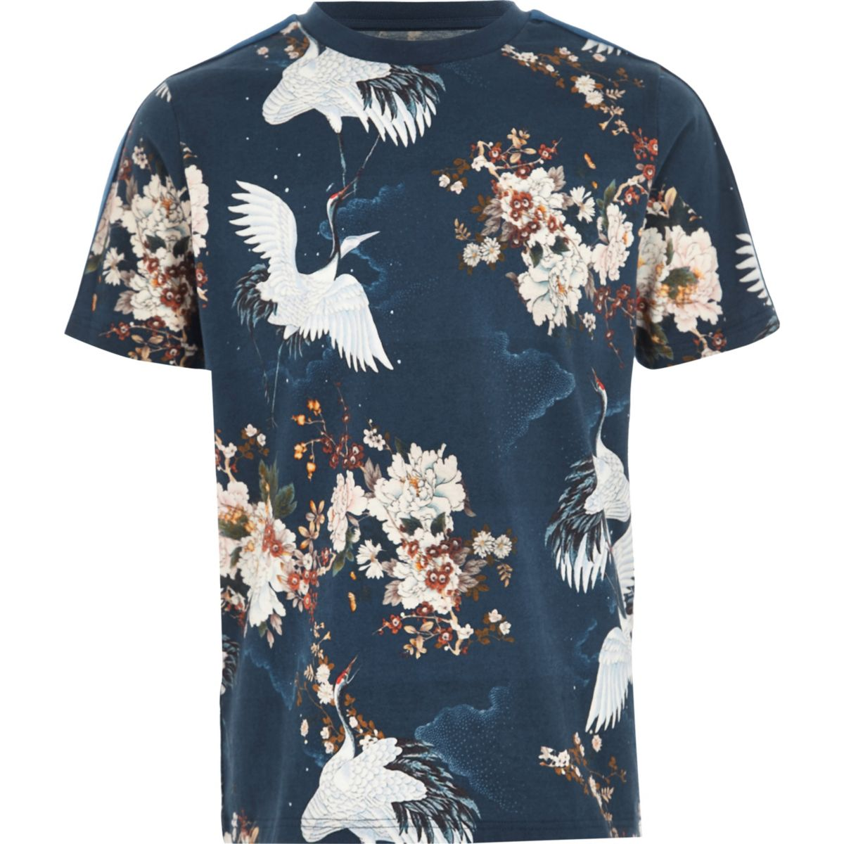 Boys blue crane tape sleeve T-shirt