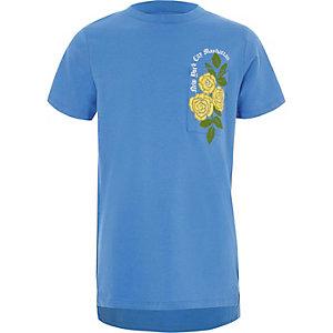 Blauw T-shirt met korte mouwen en bloemenprint voor jongens