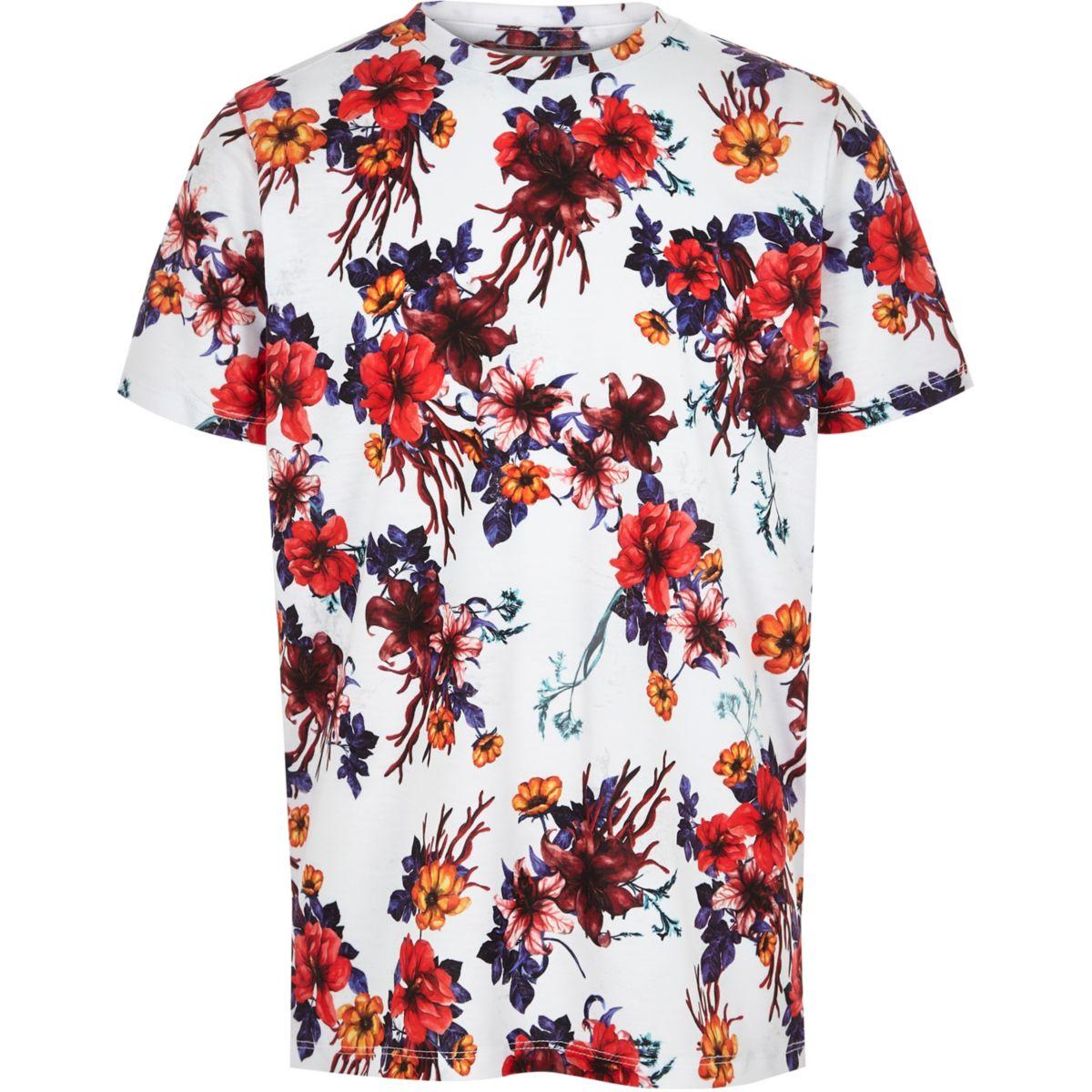 Boys white floral print T-shirt