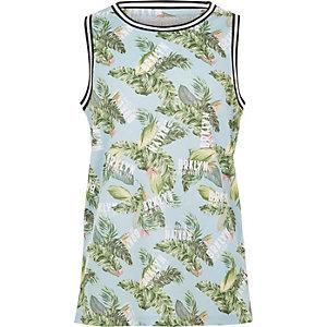 Blauw hemdje met palm- en 'Brklyn'-print voor jongens