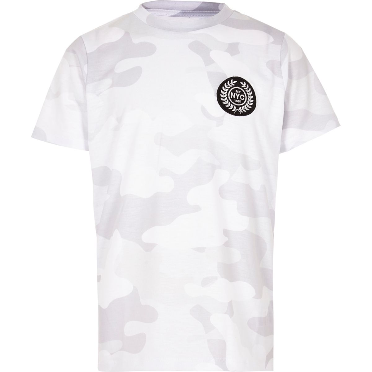 Boys white camo 'NYC' badge T-shirt