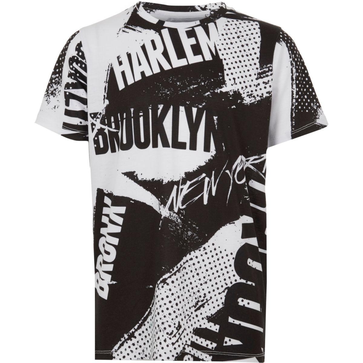 Boys black 'Bronx' graffiti print T-shirt
