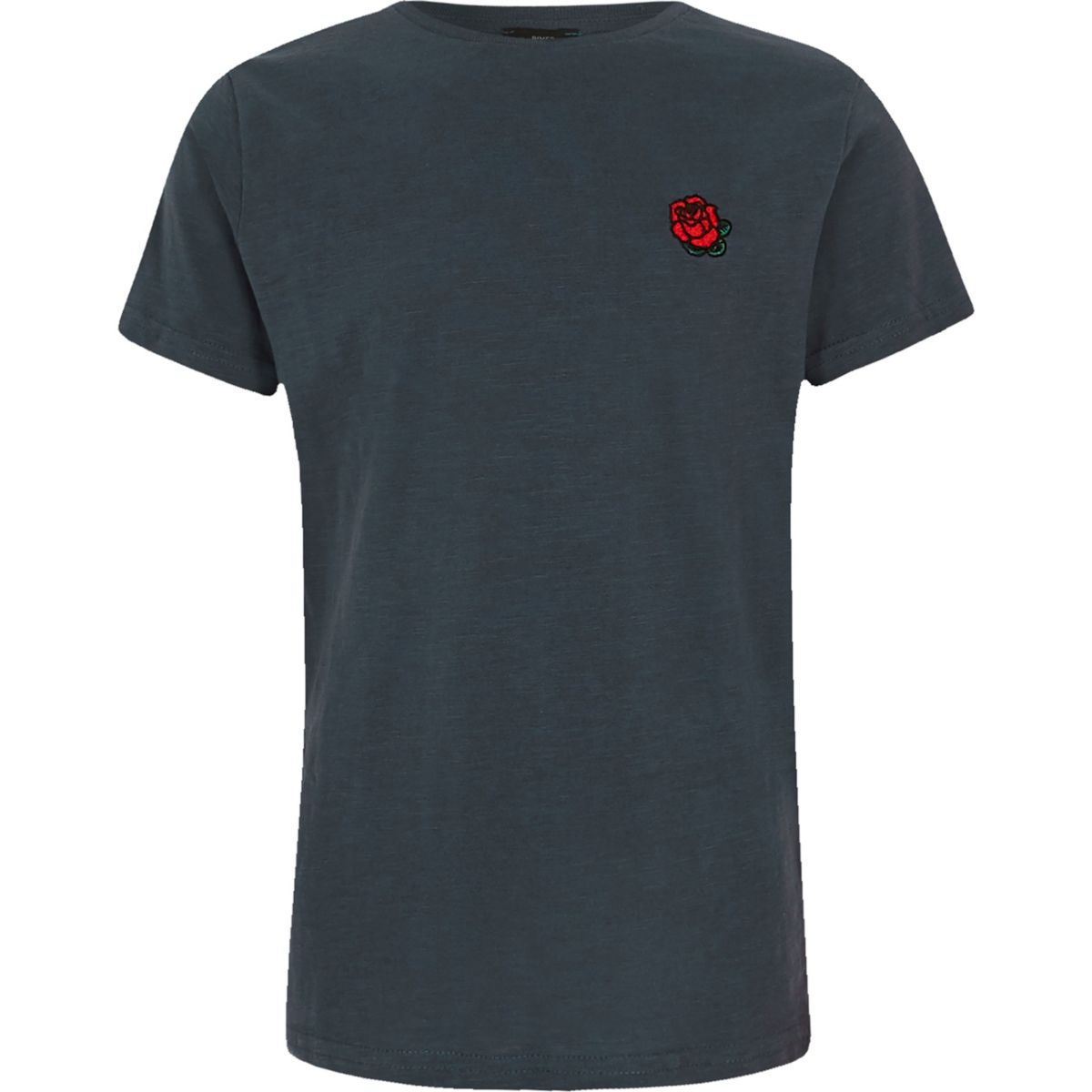 Boys navy rose embroidered T-shirt