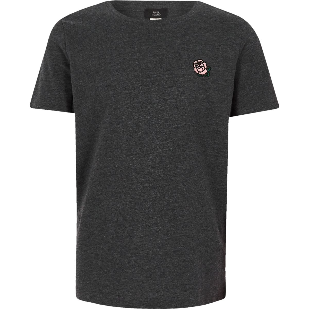 Boys grey rose embroidered T-shirt