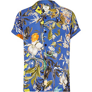 Kids blue tropical print shirt