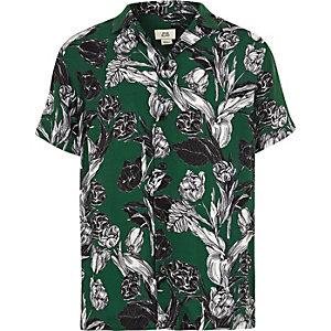 Chemise manches courtes à fleurs verte garçon