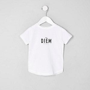 Mini - T-shirt met 'Carpe diem'-print en ronde zoom voor jongens