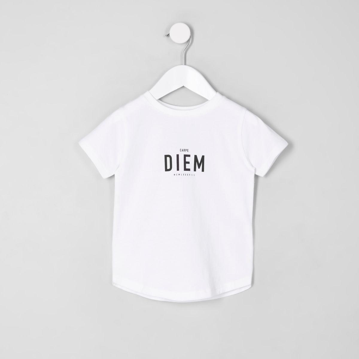 Mini boys 'Carpe Diem' curved hem T-shirt