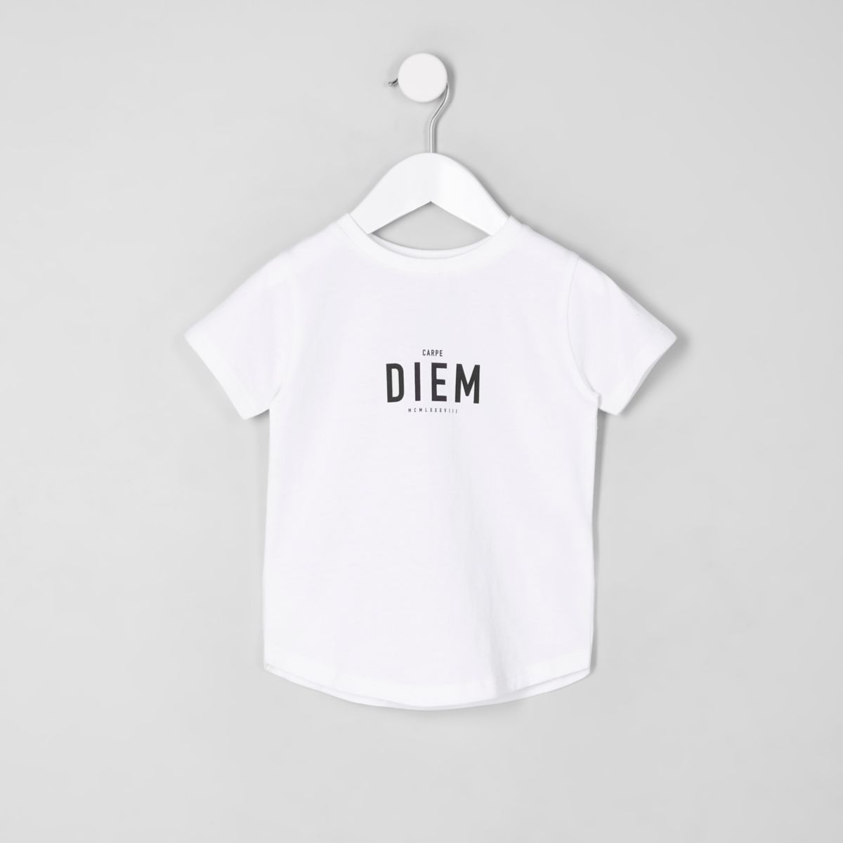 Mini boys 'Carpe Diem' curved hem T-shirt